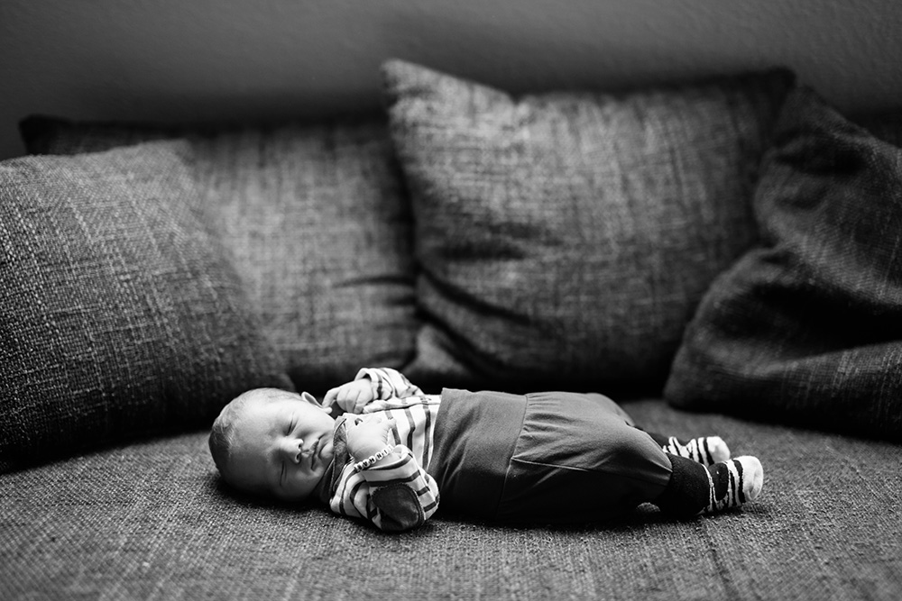 black and white portrait of newborn baby boy Piet